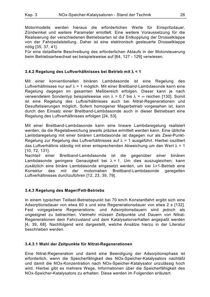 Kap. 3           NOx-Speicher-Katalysatoren - Stand der Technik                  26Motormodells werden hieraus die erforde...