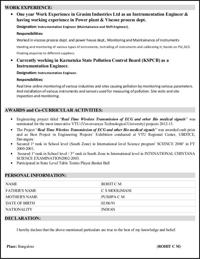 cv   electronics and instrumentation engineer  with 2