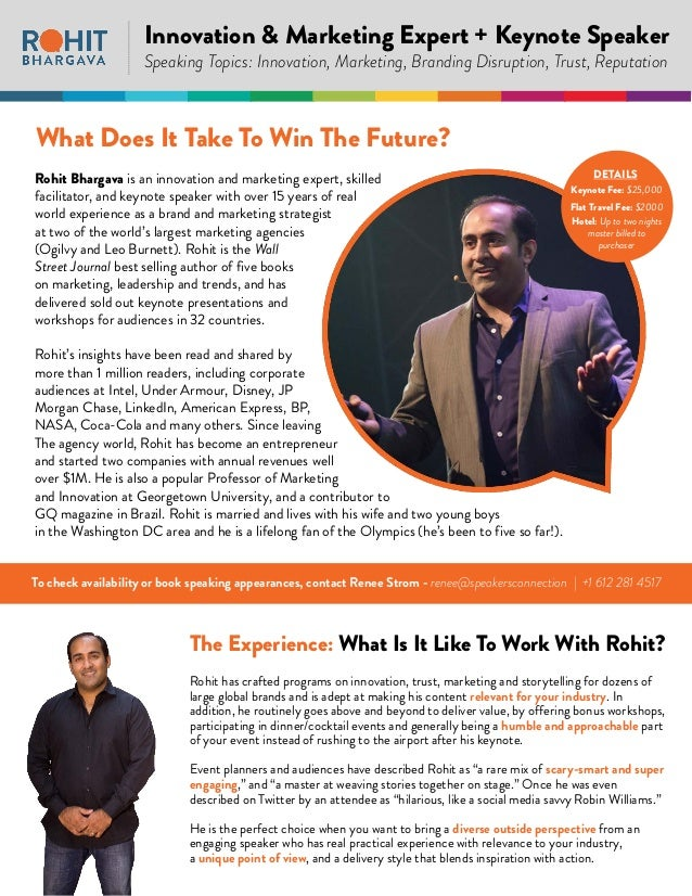 Rohit Bhargava - Innovation Keynote Speaker | One-Sheet 2018