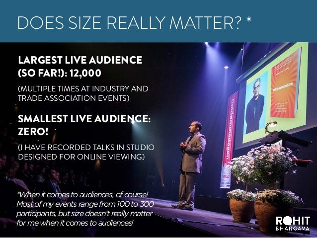 LARGEST LIVE AUDIENCE (SO FAR!): 12,000 (MULTIPLE TIMES AT INDUSTRY AND TRADE ASSOCIATION EVENTS) SMALLEST LIVE AUDIENCE: ...