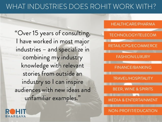 FINANCE/BANKING HEALTHCARE/PHARMA RETAIL/CPG/ECOMMERCE WHAT INDUSTRIES DOES ROHIT WORK WITH? TRAVEL/HOSPITALITY TECHNOLOGY...