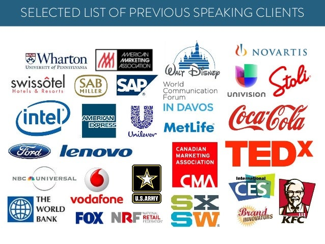 SELECTED LIST OF PREVIOUS SPEAKING CLIENTS