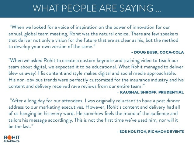 """""""When we looked for a voice of inspiration on the power of innovation for our annual, global team meeting, Rohit was the n..."""
