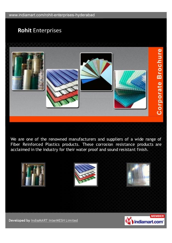 Rohit Enterprises, Hyderabad, Fibre Glass Roofing Sheets