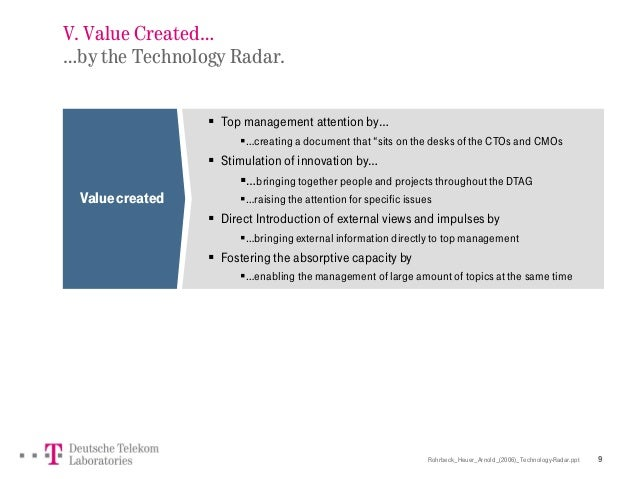 Rohrbeck_Heuer_Arnold_(2006)_Technology-Radar.ppt 9 V. Value Created… …by the Technology Radar. Valuecreated  Top managem...