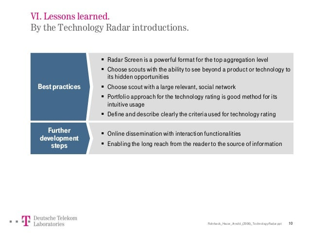 Rohrbeck_Heuer_Arnold_(2006)_Technology-Radar.ppt 10 VI. Lessons learned. By the Technology Radar introductions. Bestpract...
