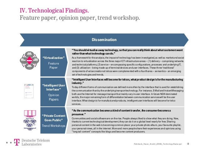 Rohrbeck_Heuer_Arnold_(2006)_Technology-Radar.ppt 8 IV. Technological Findings. Feature paper, opinion paper, trend worksh...