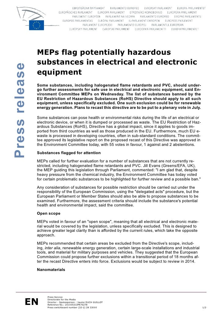 MEPs flag potentially hazardous                 substances in electrical and electronic Press release                   eq...