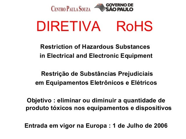DIRETIVA RoHS Restriction of Hazardous Substances in Electrical and Electronic Equipment Restrição de Substâncias Prejudic...