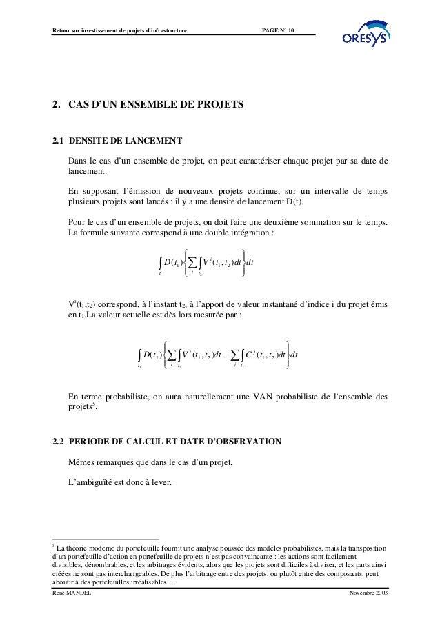 Retour sur investissement de projets d'infrastructure                                    PAGE N° 102. CAS D'UN ENSEMBLE DE...
