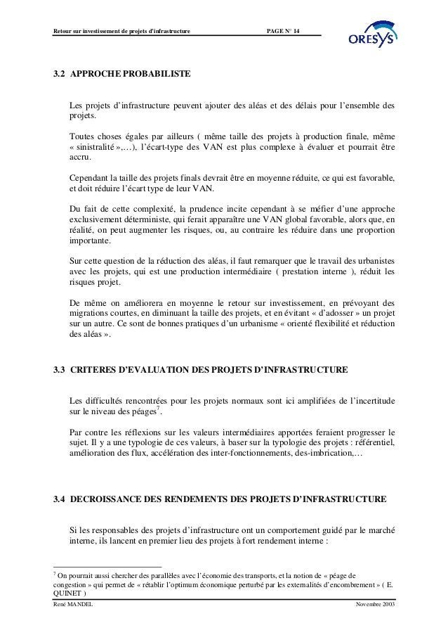 Retour sur investissement de projets d'infrastructure                PAGE N° 143.2 APPROCHE PROBABILISTE      Les projets ...