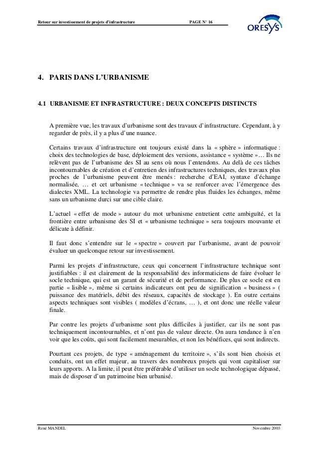 Retour sur investissement de projets d'infrastructure         PAGE N° 164. PARIS DANS L'URBANISME4.1 URBANISME ET INFRASTR...