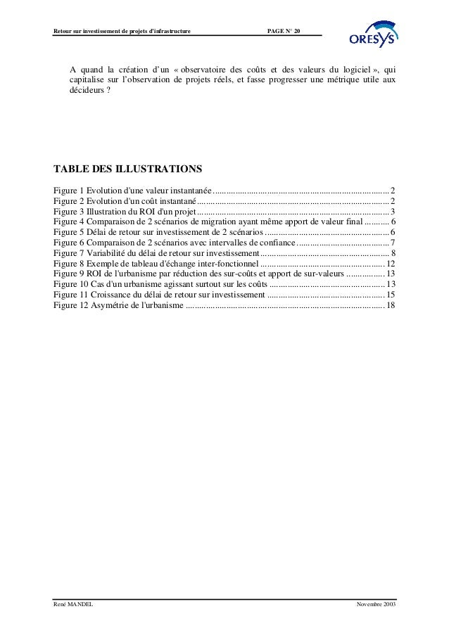 Retour sur investissement de projets d'infrastructure                           PAGE N° 20      A quand la création d'un «...