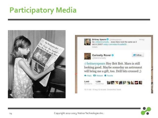 Copyright 2012-2013, NoticeTechnologies Inc.Participatory Media14