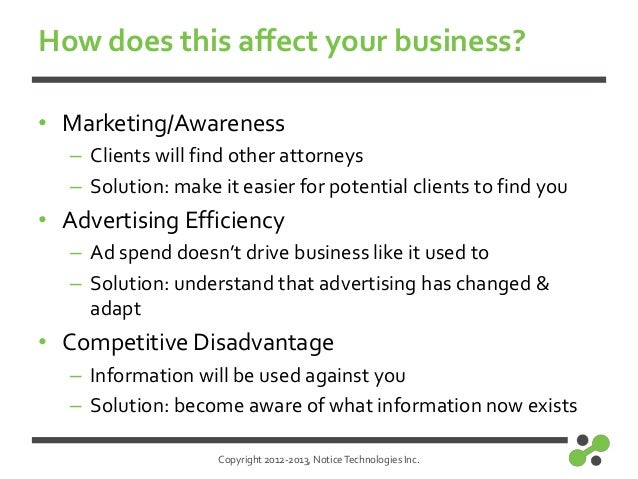 Copyright 2012-2013, NoticeTechnologies Inc.How does this affect your business?• Marketing/Awareness– Clients will find ot...