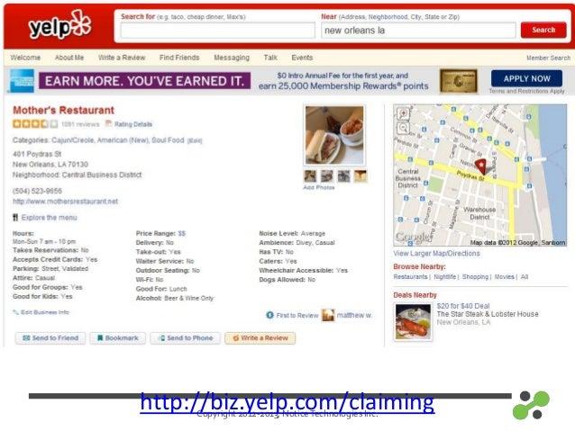 Copyright 2012-2013, NoticeTechnologies Inc.http://biz.yelp.com/claiming