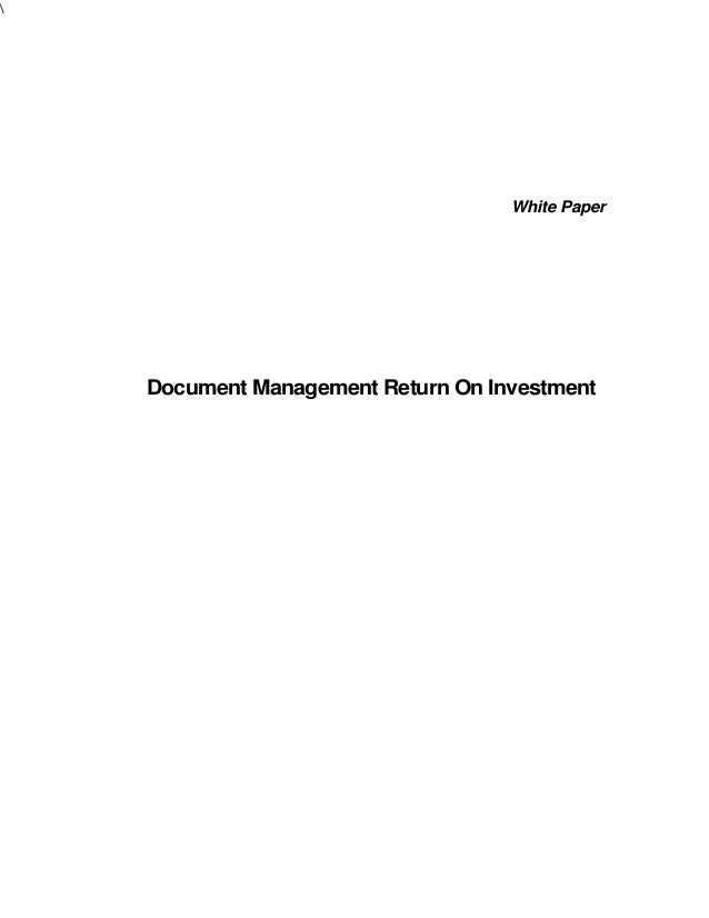 White Paper  Document Management Return On Investment