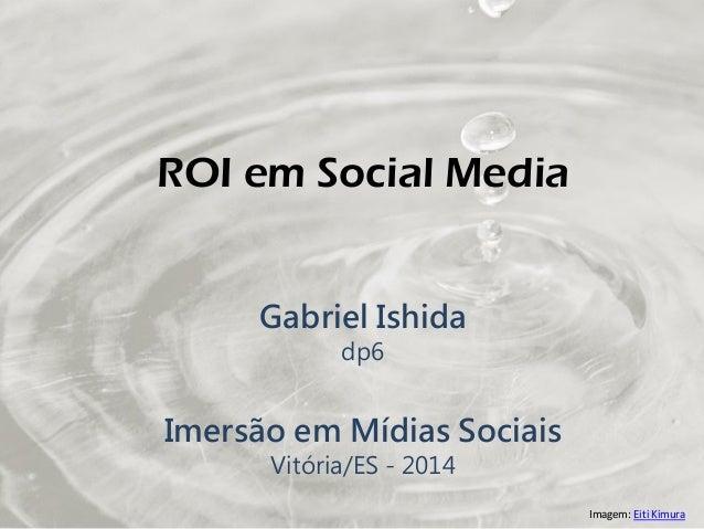 ROI em Social Media Gabriel Ishida dp6 Imersão em Mídias Sociais Vitória/ES - 2014 Imagem: Eiti Kimura