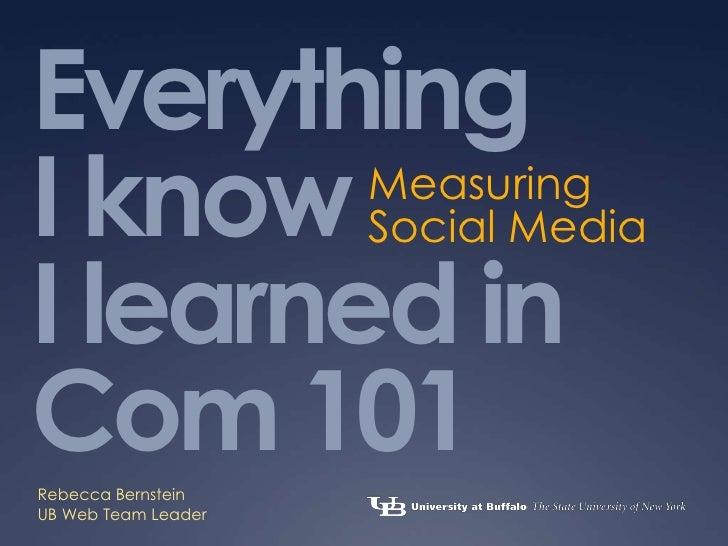 Everything I knowI learned in Com 101<br />Measuring <br />Social Media<br />Rebecca Bernstein<br />UB Web Team Leader<br />