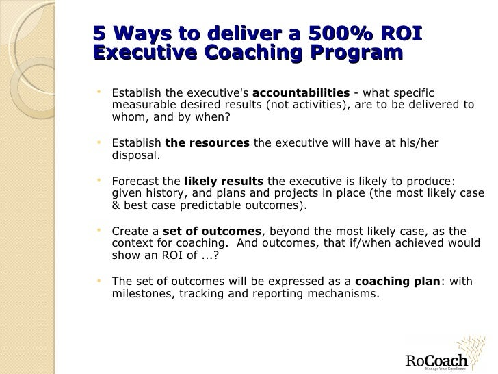 Return On Investment In Executive Coaching