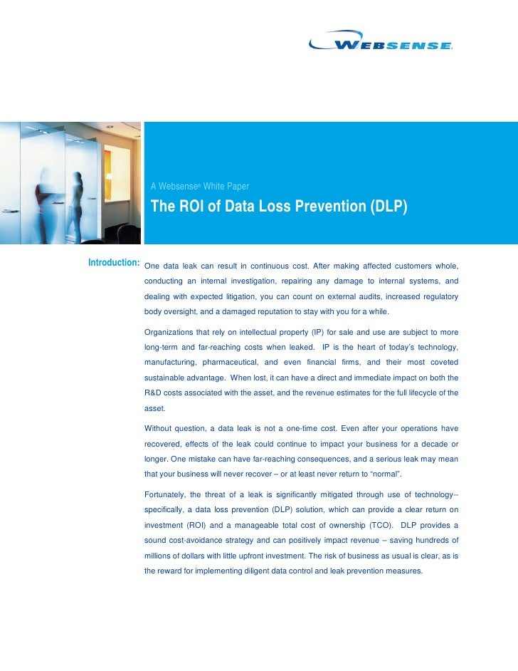 A Websense® White Paper                  The ROI of Data Loss Prevention (DLP)   Introduction: One data leak can result in...