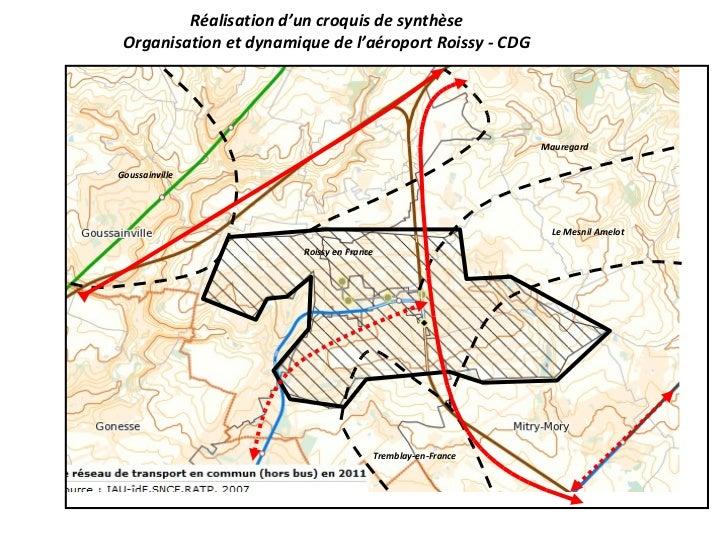 Réalisation d'un croquis de synthèse Organisation et dynamique de l'aéroport Roissy - CDG Roissy en France Goussainville M...