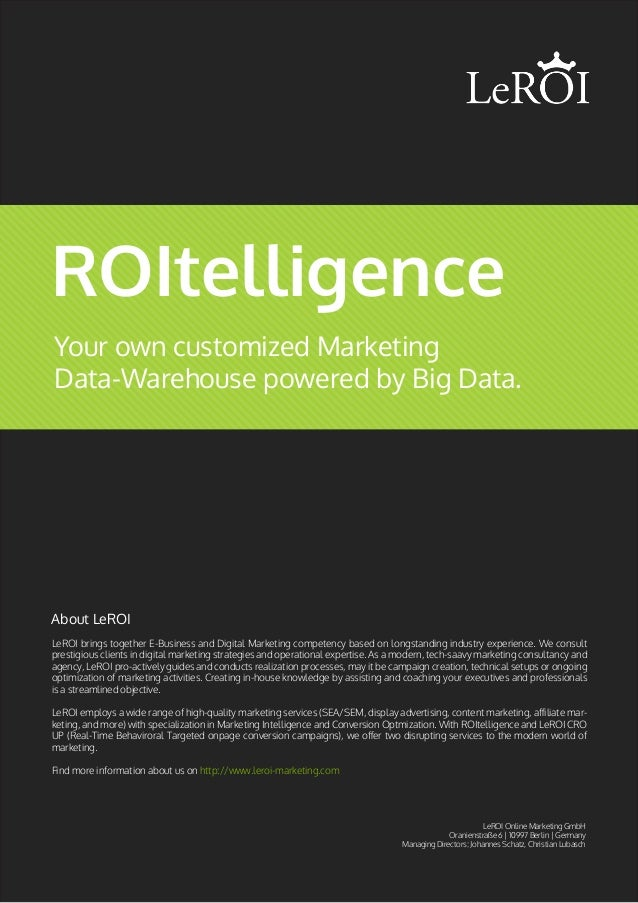 Your own customized Marketing Data-Warehouse powered by Big Data. ROItelligence LeROI brings together E-Business and Digit...