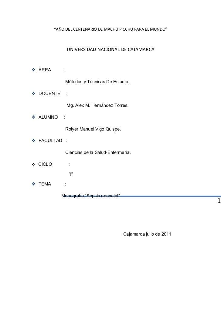 """""""AÑO DEL CENTENARIO DE MACHU PICCHU PARA EL MUNDO""""                      UNIVERSIDAD NACIONAL DE CAJAMARCA ÁREA        :  ..."""