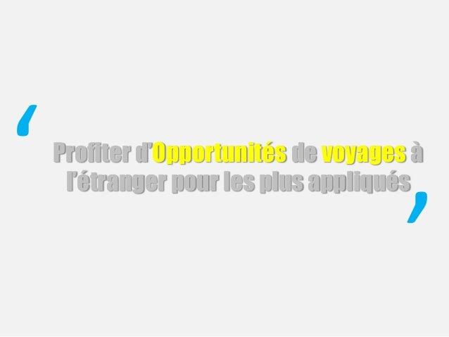 Profiter d'Opportunités de voyages à l'étranger pour les plus appliqués' '