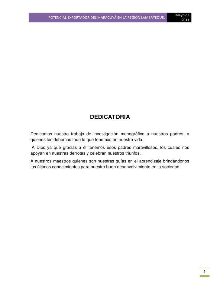 Mayo de        POTENCIAL EXPORTADOR DEL MARACUYÁ EN LA REGIÓN LAMBAYEQUE.                                                 ...