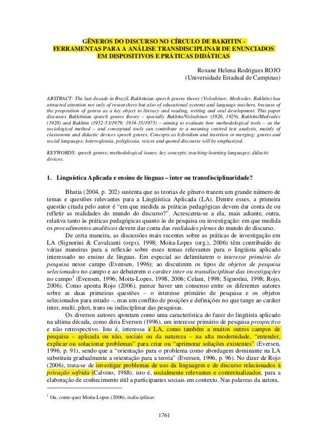1761 GÊNEROS DO DISCURSO NO CÍRCULO DE BAKHTIN - FERRAMENTAS PARA A ANÁLISE TRANSDISCIPLINAR DE ENUNCIADOS EM DISPOSITIVOS...