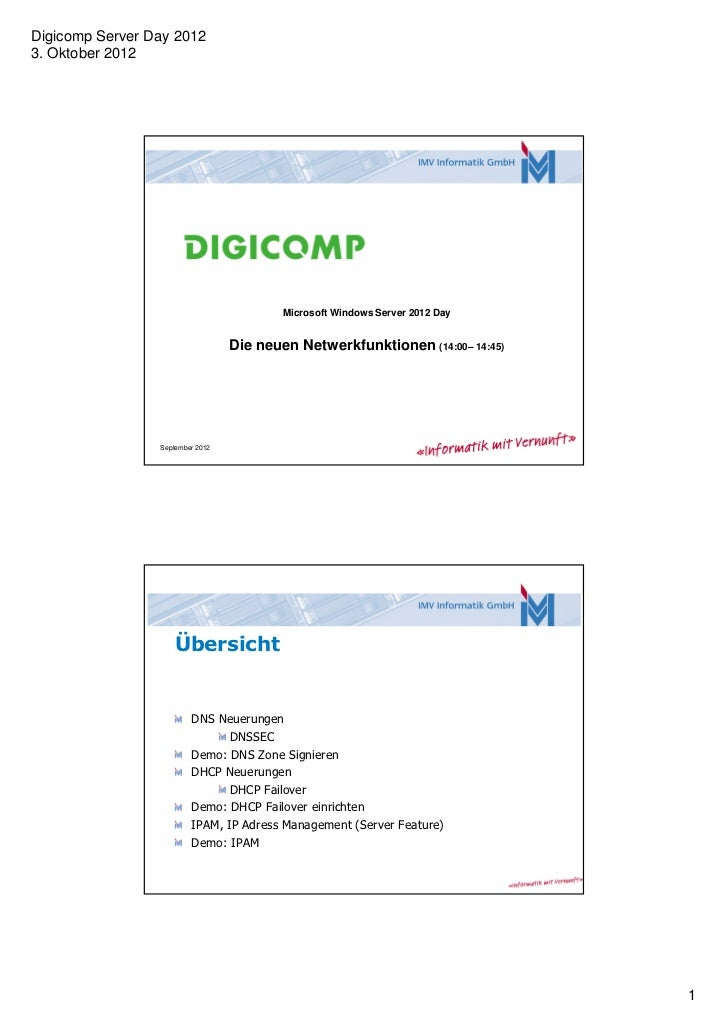 Digicomp Server Day 20123. Oktober 2012                                          Microsoft Windows Server 2012 Day        ...