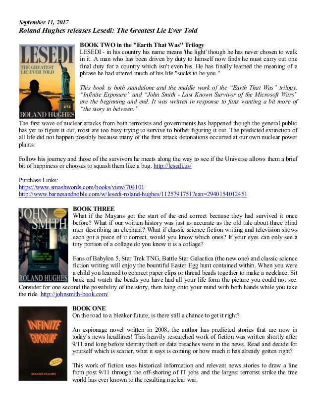 """September 11, 2017 Roland Hughes releases Lesedi: The Greatest Lie Ever Told BOOK TWO in the """"Earth That Was"""" Trilogy LESE..."""