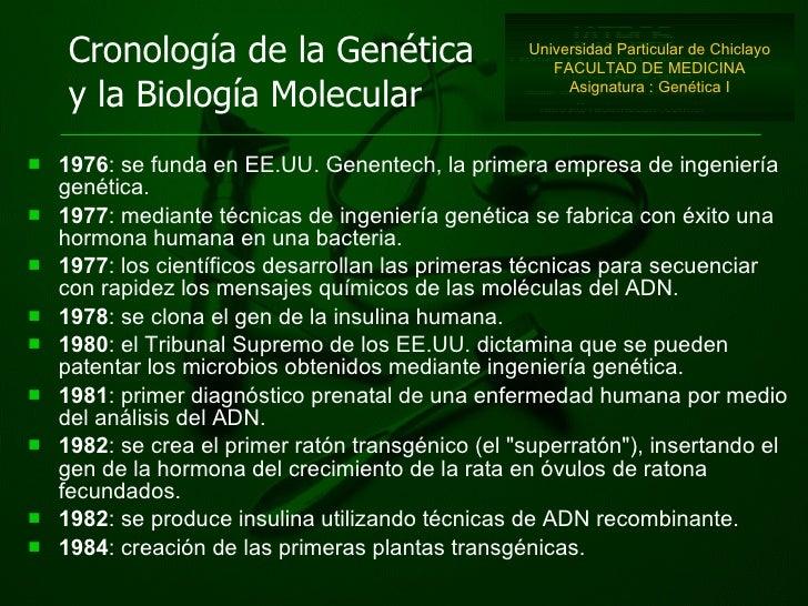 <ul><li>1976 : se funda en EE.UU. Genentech, la primera empresa de ingeniería genética.  </li></ul><ul><li>1977 : mediante...