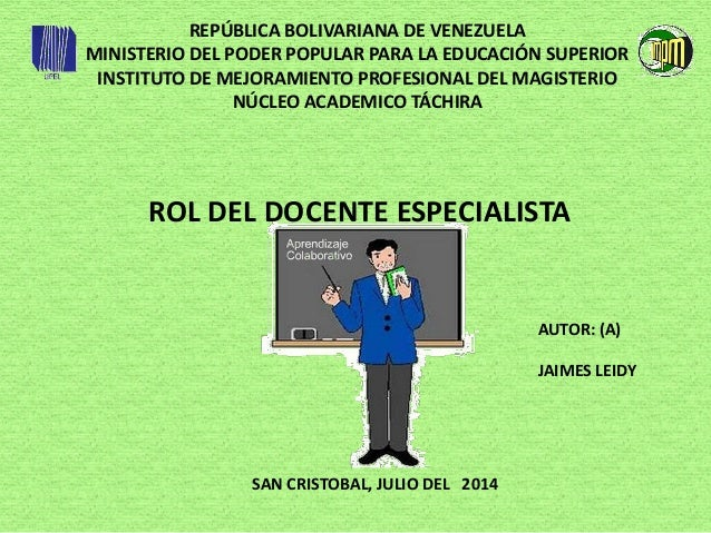 REPÚBLICA BOLIVARIANA DE VENEZUELA MINISTERIO DEL PODER POPULAR PARA LA EDUCACIÓN SUPERIOR INSTITUTO DE MEJORAMIENTO PROFE...