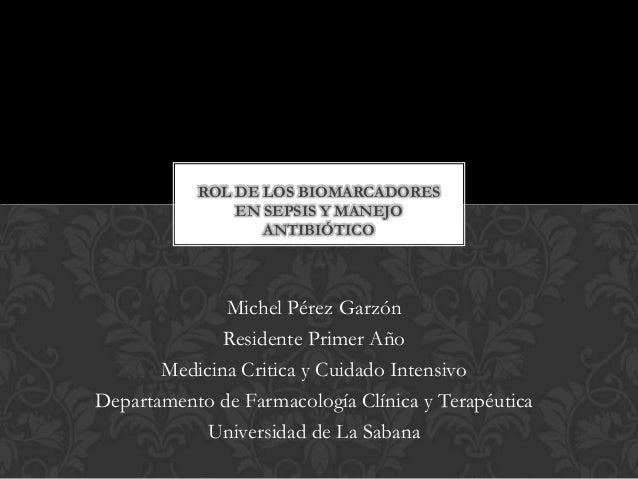 Michel Pérez Garzón Residente Primer Año Medicina Critica y Cuidado Intensivo Departamento de Farmacología Clínica y Terap...