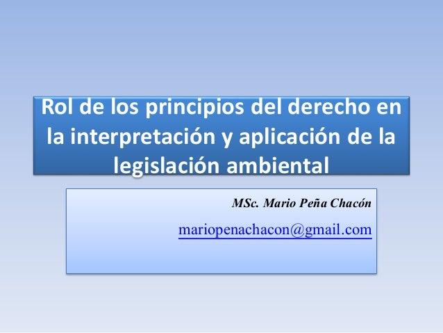 Rol de los principios del derecho en la interpretación y aplicación de la legislación ambiental MSc. Mario Peña Chacón mar...