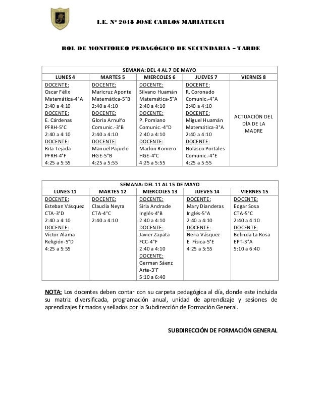 Rol de monitoreo pedagagogico de secundaria Slide 2