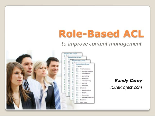 Role-Based ACL to improve content management Randy Carey iCueProject.com