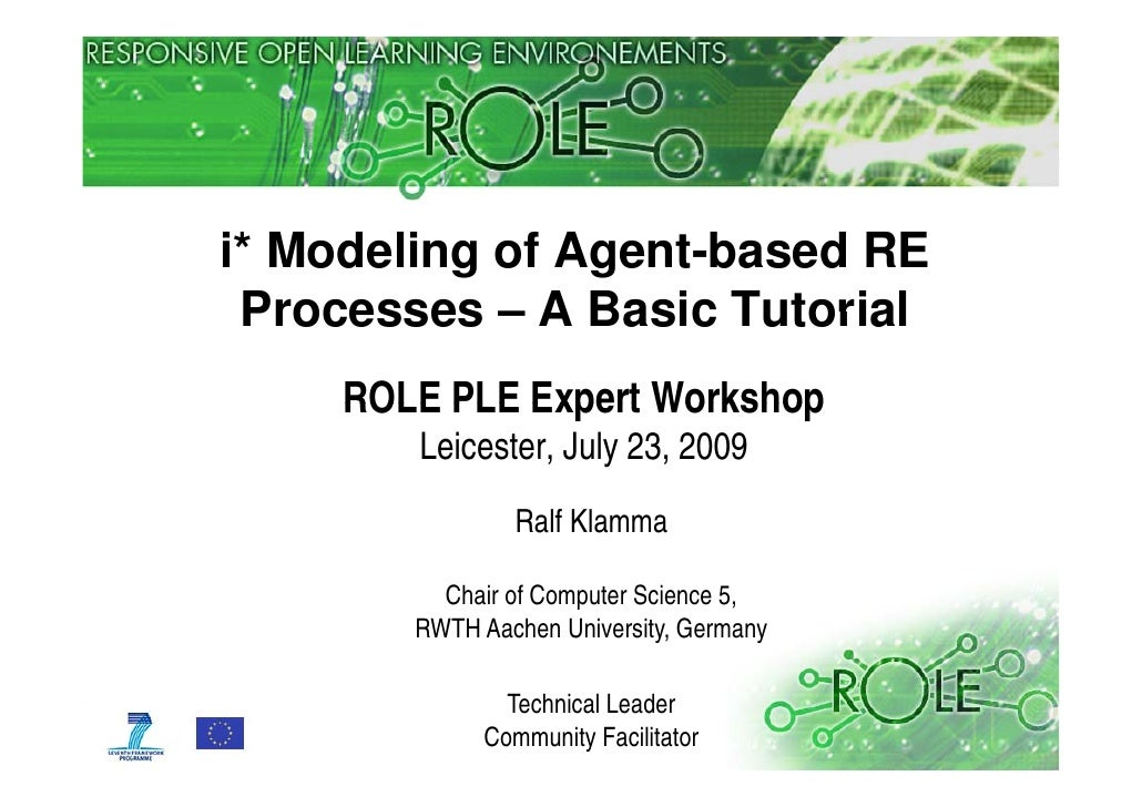 i* Modeling of Agent-based RE  Processes – A Basic Tutorial      ROLE PLE Expert Workshop         Leicester, July 23, 2009...