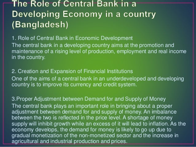 Role of a central bank in forex market of a country