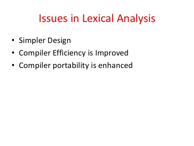 role of lexical analyzer in compiler design pdf