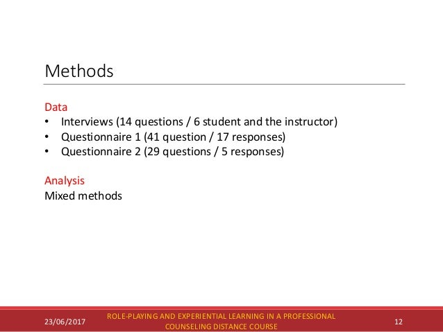 Methods 23/06/2017 ROLE-PLAYING AND EXPERIENTIAL LEARNING IN A PROFESSIONAL COUNSELING DISTANCE COURSE 12 Data • Interview...