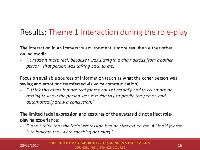 Results: Theme 1 Interaction during the role-play 23/06/2017 ROLE-PLAYING AND EXPERIENTIAL LEARNING IN A PROFESSIONAL COUN...