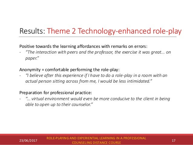 Results: Theme 2 Technology-enhanced role-play 23/06/2017 ROLE-PLAYING AND EXPERIENTIAL LEARNING IN A PROFESSIONAL COUNSEL...