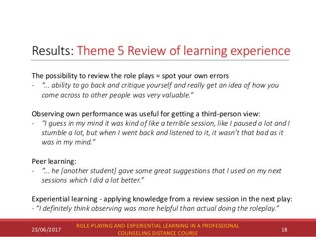Results: Theme 5 Review of learning experience 23/06/2017 ROLE-PLAYING AND EXPERIENTIAL LEARNING IN A PROFESSIONAL COUNSEL...
