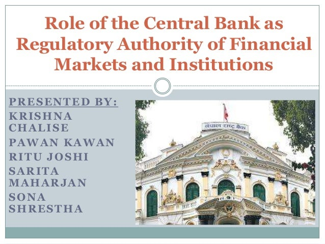 Image result for Regulatory Role Performed By the Central Bank