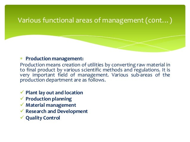management and functional areas It is argued that strategic management is concerned with 'the whole organization' the whole organization includes four main functional areas, which are marketing, operations management, finance and human resource management each functional area requires strategic thinking, which is thinking.