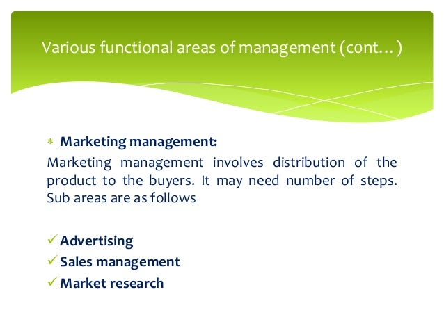 Marketing interface with other functional areas