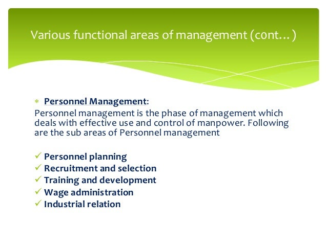 managerial roles within the functional areas